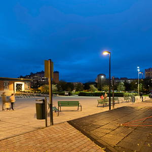 The new LED lighting offers greater visual comfort and improves the general feeling of pedestrians walking around and through the park.