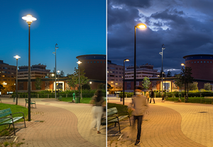 Comparison between the previous MH luminaires installation and the new LED outdoor lighting with ULORinst = 0 %. Total energy savings amount to over 89 %.