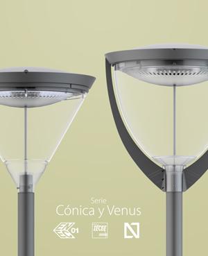 Las familias de luminarias de alumbrado público LED Cónica y Venus, con los emblemas de los certificados N, ENEC y CB.
