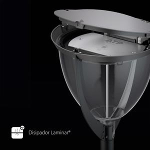 El Disipador Laminar® instalado en esta Venus TLA LED aumenta la vida útil de la luminaria en más de 21 000 horas.