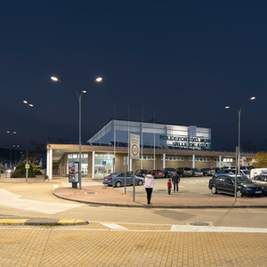 Aire® 7 series LED luminaires lighting the sports center of Egüés Valley, in the town of Olaz.
