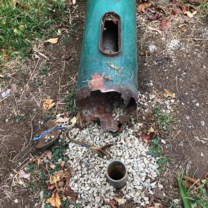 Efectos de la corrosión por orines de perro en una columna de alumbrado público. El desgaste ocasionado por este agente compromete la seguridad estructural y eléctrica de los puntos de luz.