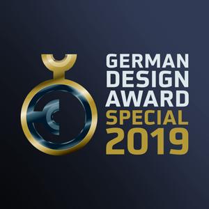 German Design Award 2019 emblem, Special Mention (Aire® luminaire, ATP Lighting).