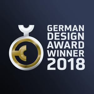 German Design Award 2018 emblem, Winner (Aire® luminaire, ATP Lighting).