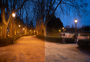 Comparison of lighting in the park before (left) and after (right) the upgrade. General improvement in light quality.