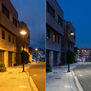 Comparison between the previous HPS installation and the Metrópoli LP LED 3000 K luminaires. The new lighting is more efficient and provides much better color rendering.