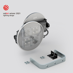 Two products, one core: the E Series floodlight, with an adjustable bracket, and the retrofit kit KitLED®, in which the bracket is replaced by adaptable fixings.