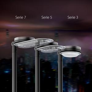 La familia de alumbrado público LED Aire®, de mayor a menor potencia: serie 7, serie 5 y serie 3.