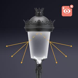 Siglo XLA con Difusor Confort®. Esta innovación mitiga el deslumbramiento producido por el LED manteniendo el máximo rendimiento de la luminaria.
