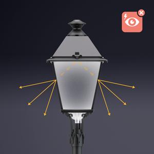 El Difusor Confort® también suaviza las sombras producidas por los ornamentos de la luminaria, lo que favorece la uniformidad del alumbrado público y mejora el aspecto global del entorno.