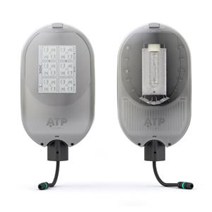 Luminaria de alumbrado público Enur Micro en sus versiones LED (izquierda) y de descarga (derecha).