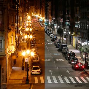 Otro de los viales intervenidos, calle Asturias, donde puede verse la diferencia entre el LED y el vapor de sodio.