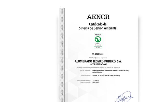 Certificado del Sistema de Gestión Ambiental